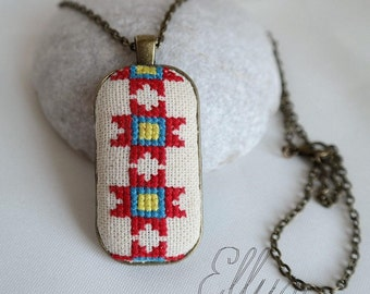 Ukrainian jewelry Red blue cross stitch pendant Hand embroidery necklace pendant Gift for her Flower wife Unusual jewelry Eco pendant Fabric