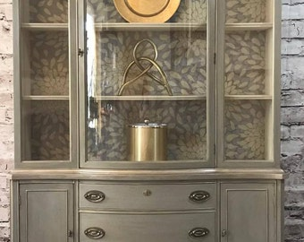 Vintage Bassett China Cabinet With Glass Doors