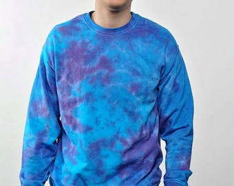 Tie Dye Sweatshirt Sea sky bue Clothing Gift for him Valentines gift for her / Cotton