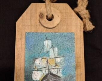 Original Art - Ship on Cork and Wood Plaque