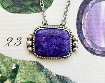 Charoite Necklace, Purple Gemstone Necklace, Sterling Silver, Statement Necklace, Gemstone Pendant, Ultraviolet Necklace, Purple Stone
