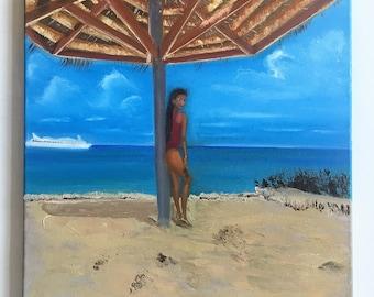 Ocean view landscape painting Girl on the beach art Beach scene wall art Beach artwork Ocean home decor Ship on ocean painting Free shipping