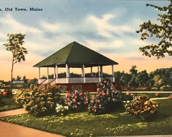 Park Old Town Maine 1950's vintage post card