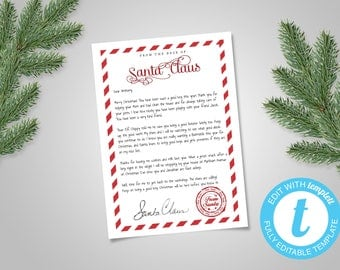 INSTANT DOWNLOAD Editable Santa Letter - editable santa letter - letters from santa download - santa letter template - letter from santa