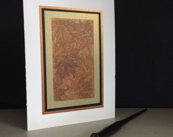 Samhain card: maple tapestry, individually handmade, happy Samhain, Halloween, note card, fine card, pagan