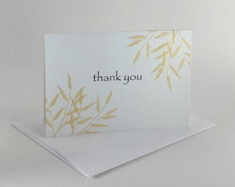Gold willow embossed thank you card, individually handmade: A1, thank you, notecards, fine card, SKU TYA11005