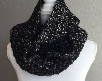 Super Chunky Crocheted Scarf, Cowl, Black and White