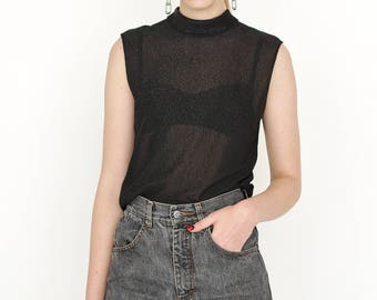 VINTAGE Black See Through Sleeveless Shiny Retro Top