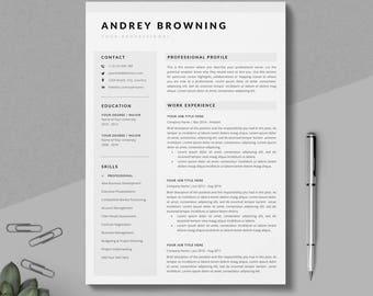 resume templates etsy
