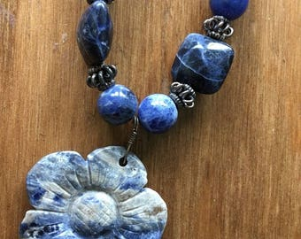 """Denim Delight - 24"""" Handcrafted Necklace - Hand-carved Sodalite Pendant on a String of Square Sodalite & Balinese Silver Beads"""