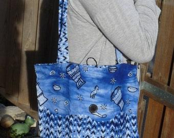 Tote bag blue pocket