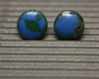Every day earrings / Round geometric studs / Cobalt Blue & Green / Pins / Silver bars / For alergic / Ceramic earring / Silicone plugs