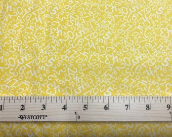 Yellow Fabric, Fabri-Quilt, Numbers, Back To School, 100% cotton, Quilting, Sewing, By The Yard And Half Yard