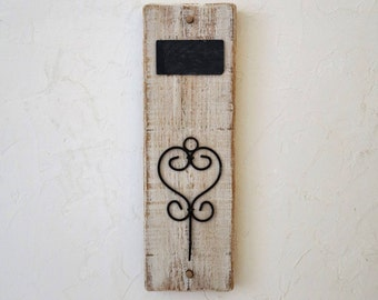 Key hanger, rail, distressed wood wall coat rack