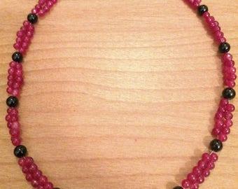 Black Onyx and Malaysian Jade quartz beaded necklace
