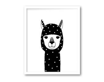 Black and white alpaca nursery wall decor, Black white alpaca print for kids room decor, Black white alpaca printable, INSTANT DOWNLOAD