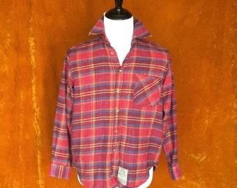Vintage 1970s, Flannel, Men's Shirt, Plaid Button Up Shirt