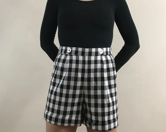 Vintage 1980s High Waisted, Pleated Women's Houndstooth, Dress Shorts