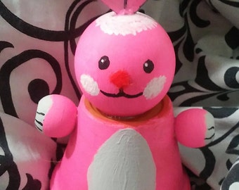 Pink ceramic rabbit