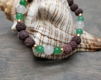 Green Aventurine, Quartz, and Lava Stone Bracelet, Mala Bracelet, Stretch Bracelet, Healing Jewelry, Yoga Bracelet, Wrist Mala