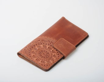 Brown leather wallet, soft leather wallet, wallet with coin pocket, mandala wallet, long wallet, clutch wallet, womens wallet, gift for her