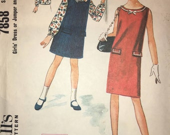 McCalls 7858 Girls' Dress or Jumper and Blouse 1965