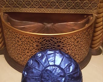 Set of 2 Moroccan Handcrafted Faux Leather Pouf, Ottoman Faux Leather Pouf Blue