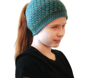Mosaic Blue Messy Bun Hat, Pony Tail Hat ***Spring Sale***