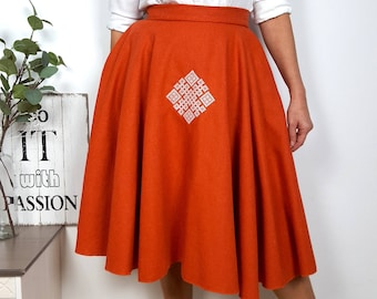 Woven fabric wool cloth full circle made to masure skirt with pockets and geometric embroidery - choose from our range of colours available