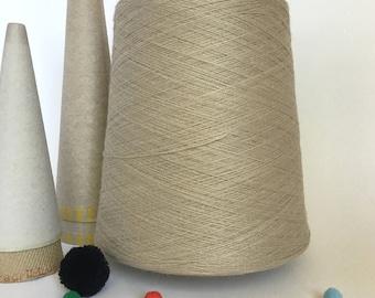 2/24 Acrylic Yarn on Cone - Natural - 2  lb 6 oz - Machine Knitting - Weaving - Crochet - Loom