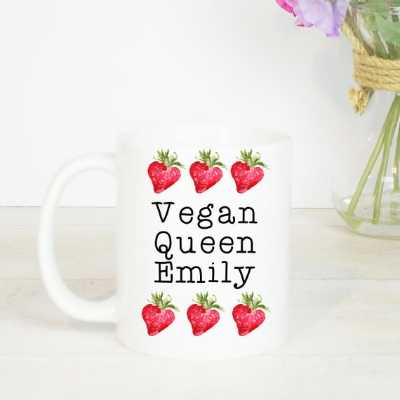 Vegan Queen personalised mug, lovely mug for a vegan queen, personalised with any name and little strawberries
