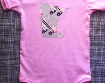 roller skate baby onesie, YOUR STATE, retro 80's graphic pattern, new york minnesota california illinois ohio texas washington oregon ...
