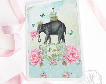 Paris, Elephant card, birthday card, fun, quirky, friendship card, French, all occasion, blank inside