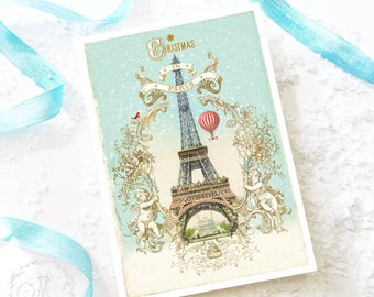 Eiffel Tower, French Christmas card, travel card, Christmas in Paris, Romantic holiday card, blank inside