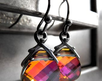 SALE - Orange Magenta Teardrop Earrings Earrings, Multicolor Swarovski Crystal Teardrop Earrings, Intense Bright Happy Color Jewelry - 6012