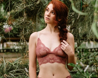 Rose Sheer Lace Bralette - 'Rosa' Style Pink Bra - Custom Fit Made To Order See Through Women's Lingerie