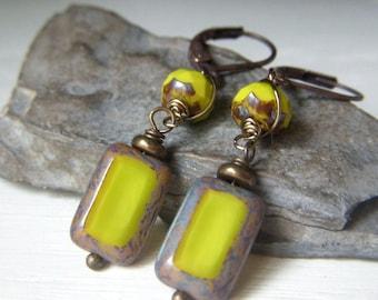 Chartreuse Green Earrings Brass, Tablecut Czech Glass Earrings, Rectangle Wirewrapped Dangle Earrings, Green Boho Earrings