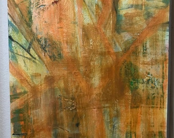 Beholden to Light, acrylic with mixed media, orange, red, green, abstract, ready to hang, original,