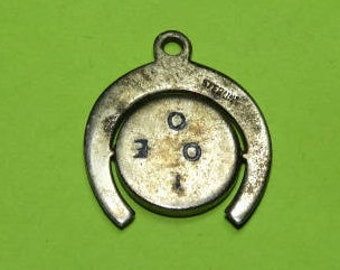"""Vintage Spinner Lucky HORSESHOE Charm, Valentine's Movable Spinner Charm Says """"I LOVE YOU"""" when spun, Sweetheart Charm, Lucky Horse Shoe"""