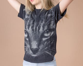 CAT T SHIRT VINTAGE graphic tee Small Women short sleeves faded soft Black Summer