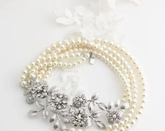 Bridal Necklace Statement Wedding Necklace Pearl Bridal Jewelry Vintage Flower Leaf Necklace Wedding Jewelry LISSE