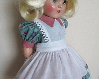 """For 19"""" P-92 Ideal Toni Doll - One of a Kind Pinafore Dress Inspired by Original"""