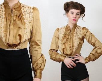 SALE 1800s Gold Satin Jacket
