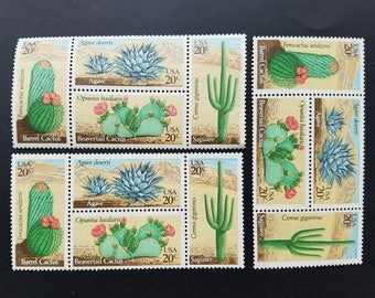Vintage unused postage stamps - cacti, desert cactus, 20c, a lot of 12 stamps, face value 2.40