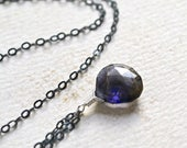 Twilight Necklace - iolite necklace, iolite jewelry, iolite handmade jewelry, indigo iolite solitaire pendant, water sapphire necklace