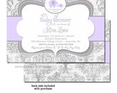 Lilac Elephant Baby Shower Invitation Girl, Elephant Baby Shower Invitation Girl Lilac Grey, Elephant Baby Shower Invitation Girl Lavender