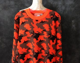 1980's neon orange camo camouflage pullover sweater by Winchester (yes, the firearms manufacturer!)