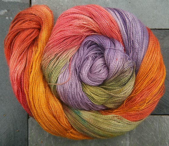 Alpaca Silk Lace 2ply Yarn Autumn Heathery Hills Elvincraft Hand Painted