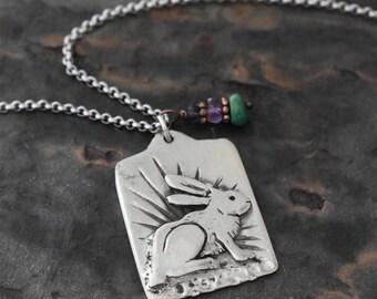 Jake Rabbit and Gemstone Necklace