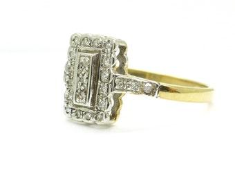 Vintage Art Deco style Diamond engagement/dinner ring 9ct/9K gold rub over set English wedding anniversary special birthday*Free Shipping*